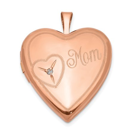 925 Sterling Silver Rose Gold Plated 20mm Mom Diamond Heart Photo Pendant Charm Locket Chain Necklace That Holds Pictures Jewelry Silver Diamond Charm Necklace