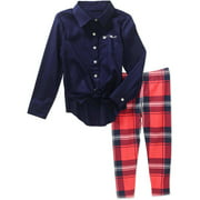 Girls' Button Down Tie Front Top and Ankle Legging Set