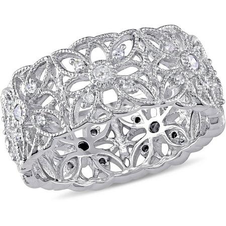 1/3 Carat T.W. Diamond Sterling Silver Flower Ring