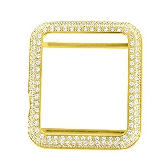 Yellow Gold Finish Watch Bezel For Apple 38 Mm Watch Stainless Steel Lab Created Cubic Zirconia