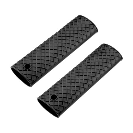 Silicone Hot Handle Holder Sleeve Pan Pot Handle Cover Black 6.1-inch Long 2Pcs Teflon Handle Cover