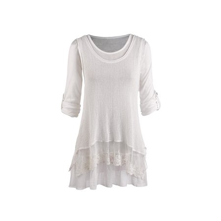 Women's Tunic Top - Roll Tab Sleeve Blouse and Gauzy White Tank