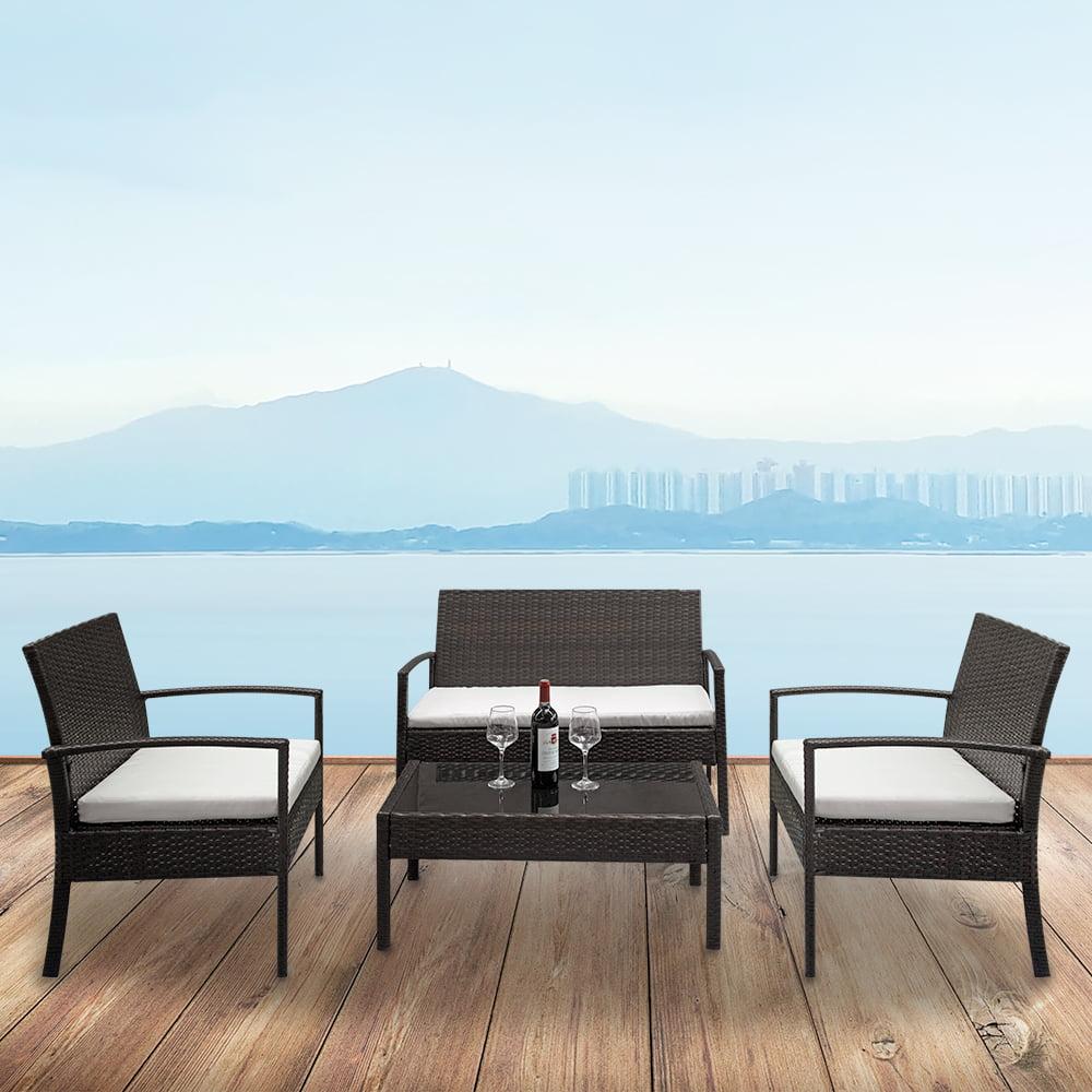 Patio Furniture Wicker Clearance: 4PCS Patio Furniture Sets Clearance , Outdoor Wicker Sofa