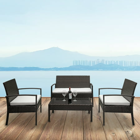 4PCS Patio Furniture Sets Clearance , Outdoor Wicker Sofa Rattan Chair Garden Conversation Set with 1PC Love Seat, 2 PCS Single Sofas, 3PCS Cushions , 1PC Tempered Glass Table, Brown, Q3782 Wicker Two Seat