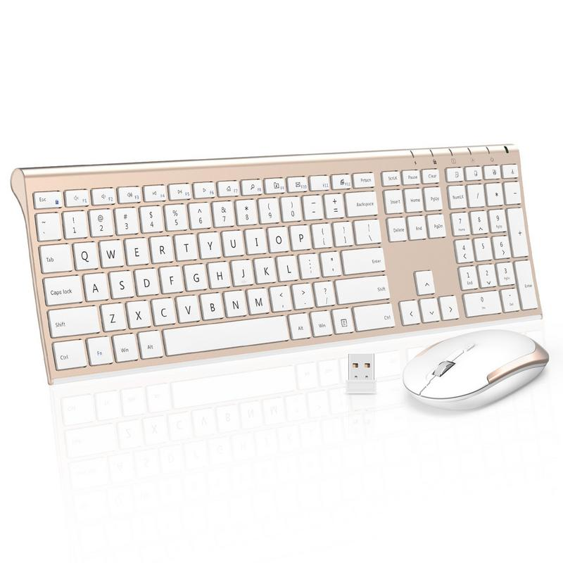 Wireless Keyboard Mouse, Jelly Comb 2.4GHz Ultra Slim Full Size Rechargeable Wireless Keyboard and Mouse Combo for Windows, Laptop, Notebook, PC, Desktop, Computer (White and Gold)