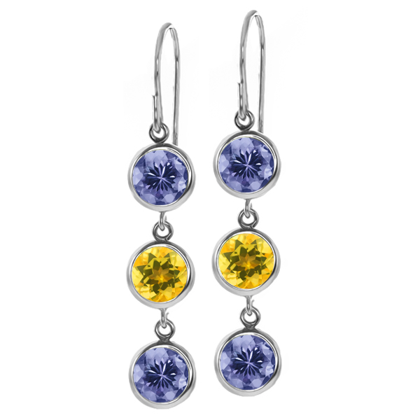 2.74 Ct Round Blue Tanzanite Yellow Citrine 925 Sterling Silver Earrings