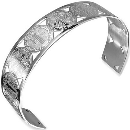 Stainless Steel Silver-Tone Cross St. Benedict Religious Christian Open End Cuff Womens Bangle Bracelet
