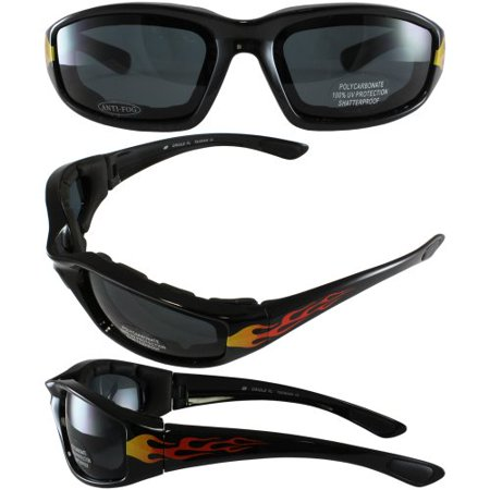 New Birdz Oriole Fire Flame Motorcycle Sunglasses Smoke Has Comfortable Foam Padding on the Entire Inside of the Glasses to Fit Snug to Your Face and Protect Against Wind and (Glasses To Fit Your Face)