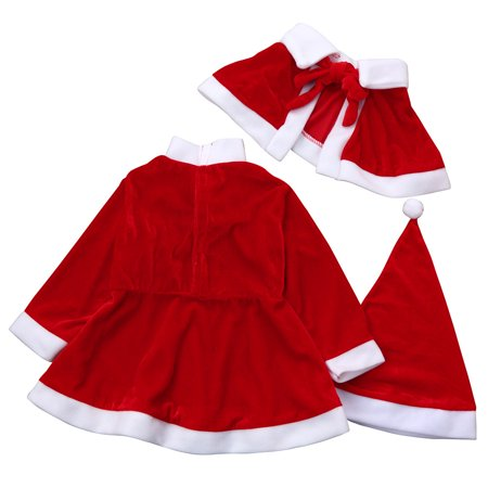 toddler kids baby girls christmas clothes costume party dressesshawlhat outfit