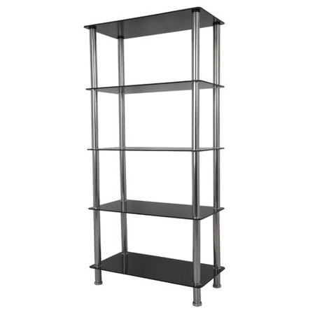 AVF Tall 5-Shelf Unit, Black Glass and Chrome, (American Standard Glass Shelf)