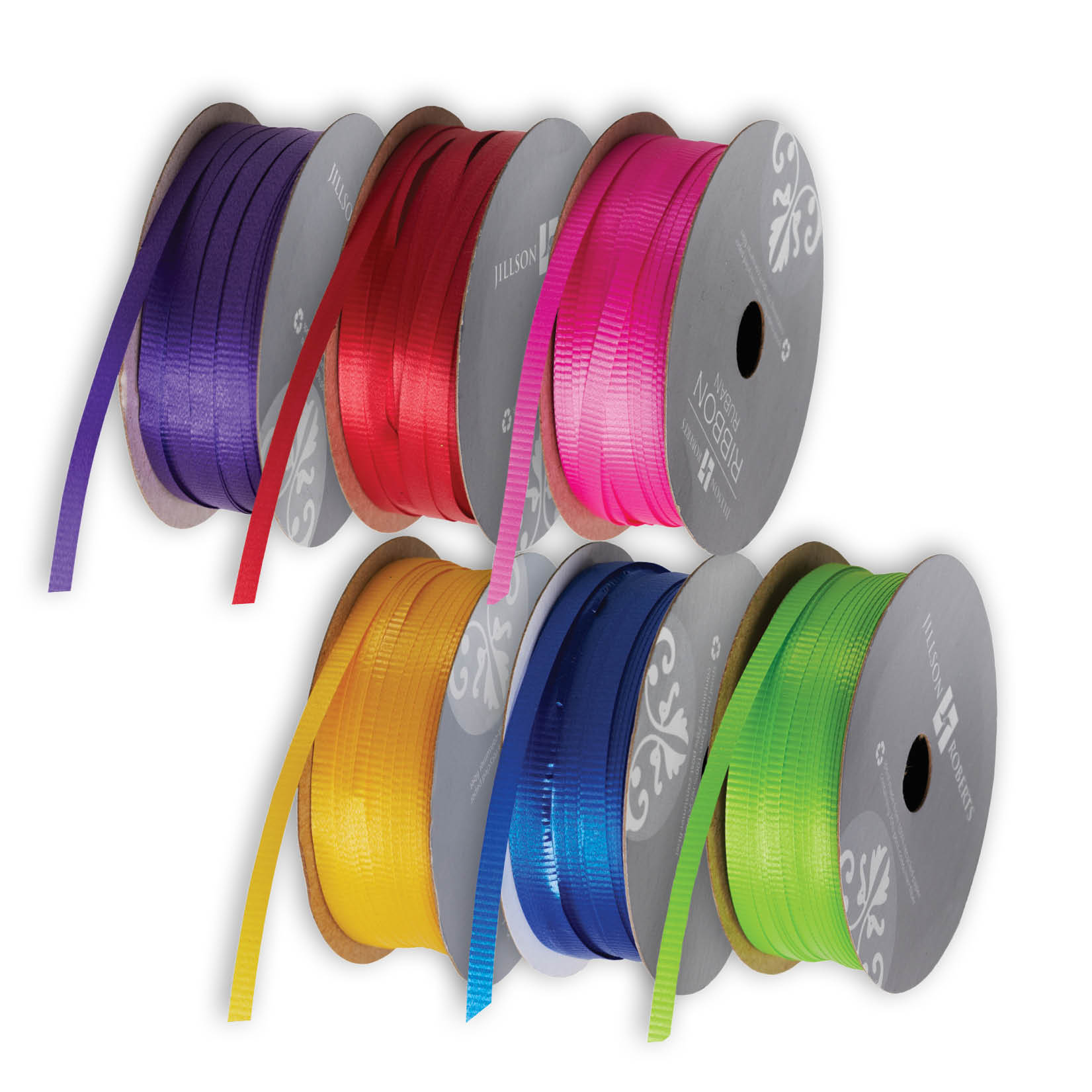Jillson & Roberts Solid Color Poly Curling Ribbon Assortment, Primary (6 Spools)