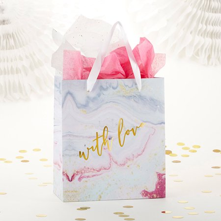 Bridesmaids Gift Bags (Kate Aspen with Love Marbleized Pink and White Gift Bag (Set of 24) | Perfect for Weddings, Welcome Bags, Baby Showers, Bridesmaids, Birthday and Party)