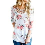 WLLW Women Long Sleeve Criss Cross Round Neck Floral Print Tops