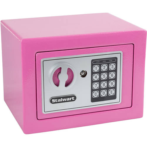 Digital Security Safe Box for Valuables - Compact Steel Lock Box with Electronic Combination Keypad by Stalwart- Blue