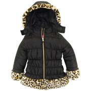 pink platinum girls' little cheetah faux trim long puffer jacket, black, 6x