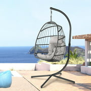 Hanging Hammock Chair Egg Swing Chair W/ C Stands and Cushion Pillow, Porch Lounge Bedroom Hand Made Wicker Rattan Chair, 350LBS Capacity