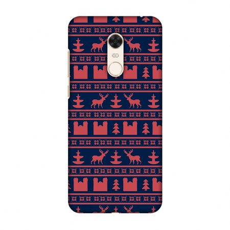 Reindeer Folded Note - Xiaomi Redmi Note 5 Case - Reindeer repeats- Midnight blue and coral, Hard Plastic Back Cover, Slim Profile Cute Printed Designer Snap on Case with Screen Cleaning Kit