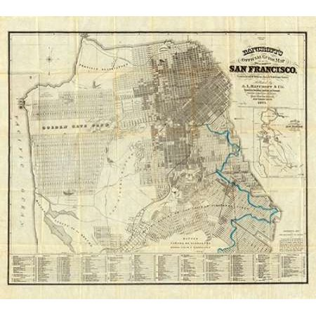 Official Guide Map of City and County of San Francisco 1873 Poster Print by AL Bancroft ()