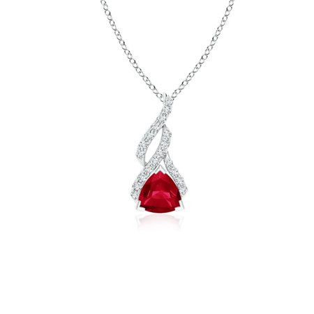 July Birthstone Necklace - Trillion Ruby Solitaire Pendant with Diamond Swirl in 14K White Gold (5mm Ruby) - -