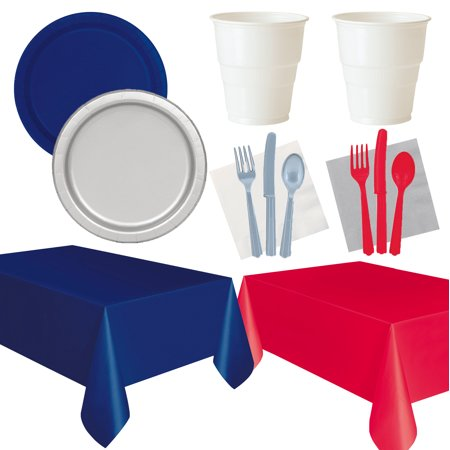 Patriot Party (New England Patriots Team Spirit 12 Guests Party Tableware Set, Red White)