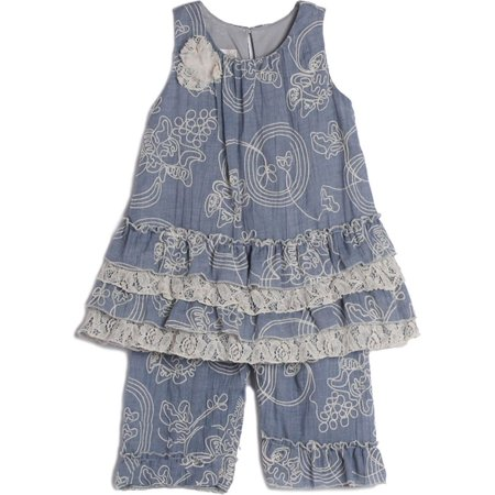 00e7d32185ce1 Isobella   Chloe Baby Girls Blue Denim Floral Embroidered 2 Pc Outfit -  Walmart.com