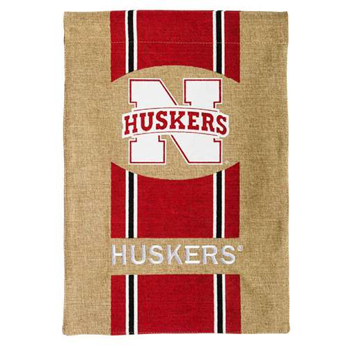 "Nebraska Cornhuskers Burlap Flag - 12.5"" x 18"""