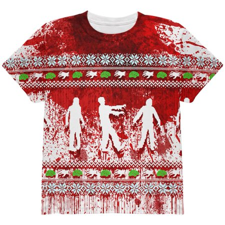 Halloween's Over Christmas Meme (Ugly Christmas Sweater Bloody Zombie Attack Survivor All Over Youth T)