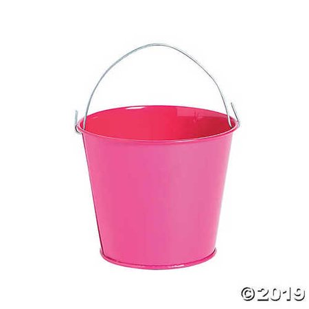 Mini Hot Pink Favor Pails - Pink Pail