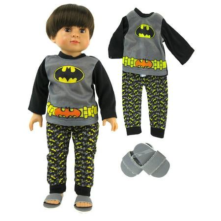 Superhero 3 Pc Pajama Set with Slippers- Fits 18