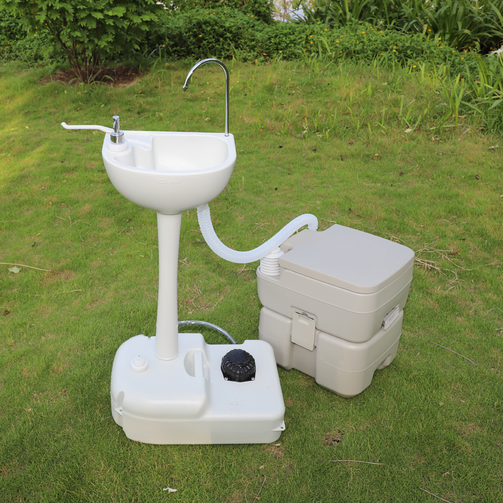 Ktaxon Upgraded 10L Garden Wash Sink and 20L Toilet Combo, Removable Hand Washing Station w/Wheels Towel Holder and Soap Dispenser, for Camping/Boating/RV
