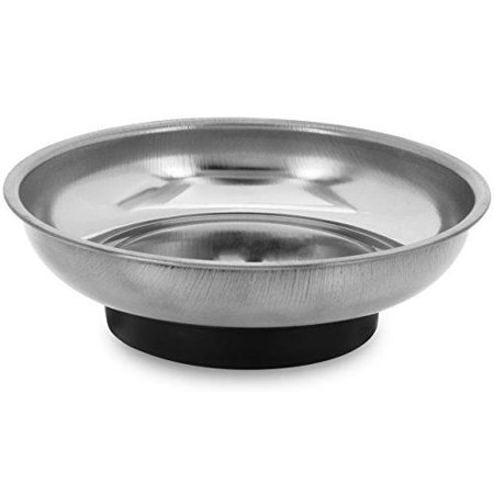 """Rounded Nut (4"""" Mini Magnetic Parts Tray Nut & Bolt Round Stainless Steel Bowl 