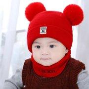 Baby Hats Winter - New Autumn Winter Christmas Hat Baby Boys Girls Hat Warm Windproof Hat + Scarf Neckerchief
