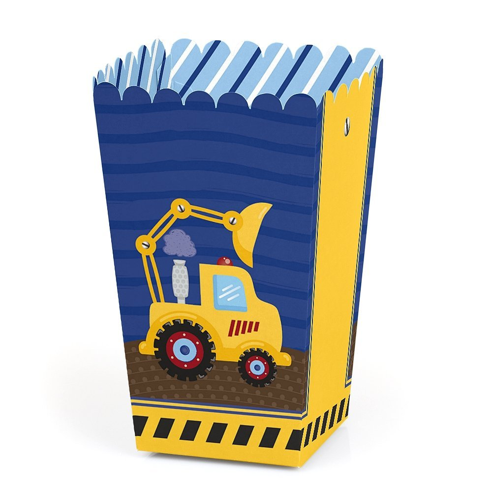 Construction Truck - Baby Shower or Birthday Party Favor Popcorn Treat Boxes - Set of 12
