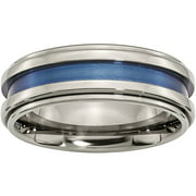 Titanium with Blue Triple Groove 8mm Polished Band