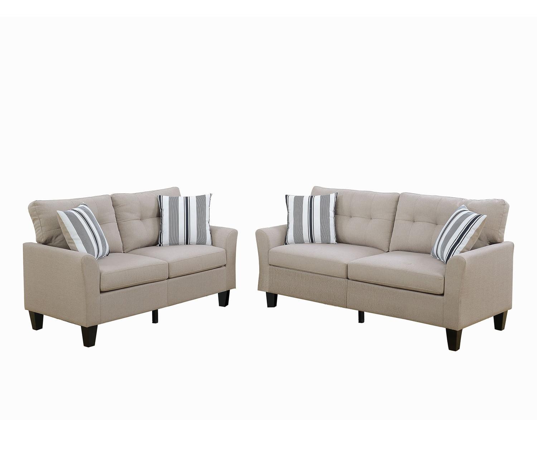Bobkona Dreka Glossy Polyfabric 2-Piece Sofa and Loveseat Set in Charcoal. by Poundex