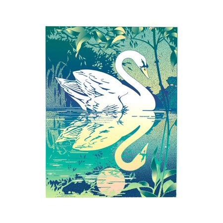 Swan Reflecting in Water Print Wall Art By David