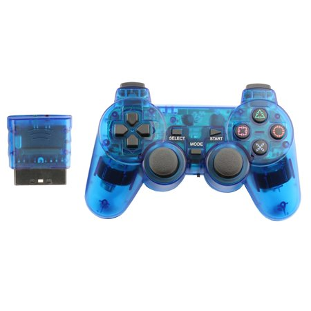 Ps2 Foam Deluxe Pad - Replacement WIRELESS Gaming Pad Controller For Playstation PS1 PS2 Game Console Systems  Wireless - BLUE