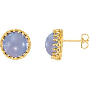 14K Yellow 8mm Round Blue Chalcedony Earrings by