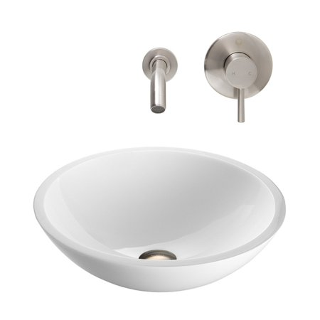 Vigo Flat Edged White Phoenix Stone Glass Vessel Sink with Brushed Nickel Wall Mount - Nickel Wall Mount Vessel Faucet