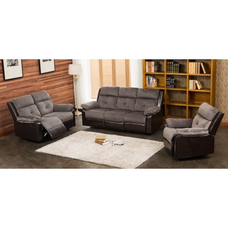 Aira 3 pc ultra fine grey thick fabric living room for 3 pc living room set