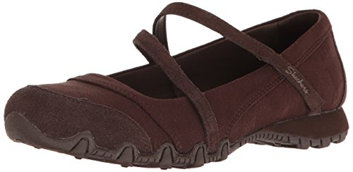 Skechers Women's Bikers -Fiesta Mary Jane Flat,6 M US,Chocolate