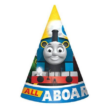 Thomas the Tank Engine 'All Aboard Friends' Cone Hats (8ct)](Thomas And Friends Birthday Supplies)