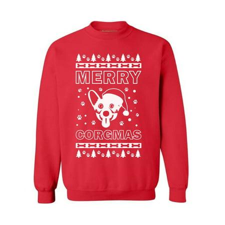 Awkward Styles Merry Corgmas Sweatshirt Merry Corgmas Sweater Funny Corgi Dog Christmas Sweater Corgi Dog Santa Christmas Sweatshirt for Men and Women Xmas Gifts for Corgi Dog Lover Xmas Party Outfit ()