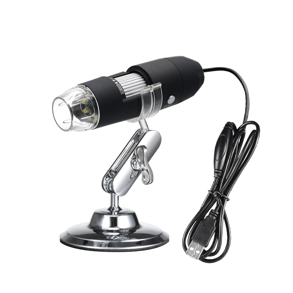 USB Digital Zoom Microscope Magnifier with OTG Function Endoscope 8-LED Light Magnifying Glass 1000X Magnification with Stand