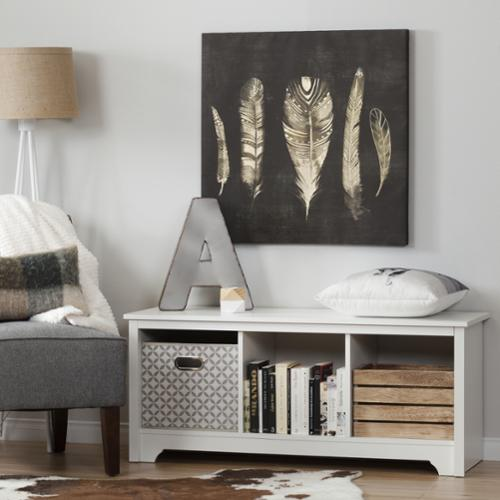 South Shore Vito Cubby Storage Bench Vito Cubby Storage Bench, Pure White