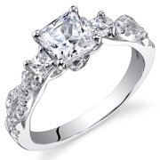 1.07 Ct Princess Cut Cubic Zirconia Engagement Ring in Rhodium-Plated Sterling Silver