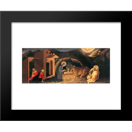 Adoration of the Magi Altarpiece, left hand predella panel depicting the Nativity 20x24 Framed Art Print by Gentile da Fabriano Left Hand Panel