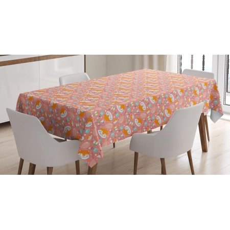 70s Themed Cake Ideas (Cat Tablecloth, Birthday Party Theme with Cake Cartoon Feline Portrait and Stars on Pastel Background, Rectangular Table Cover for Dining Room Kitchen, 52 X 70 Inches, Multicolor, by)