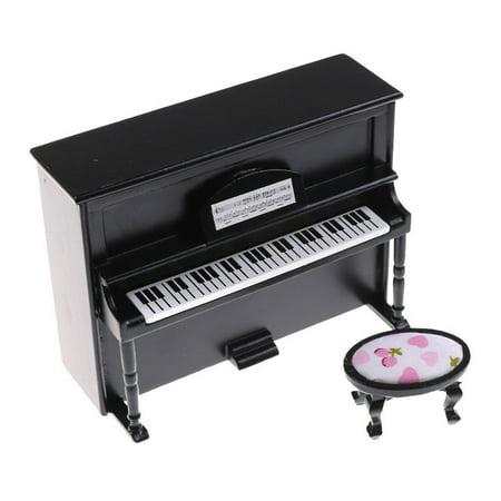 Tuscom Wooden Black Upright Piano Mini Doll Scale Model For 1/12 Dollhouse - Mini Miniature Mohair
