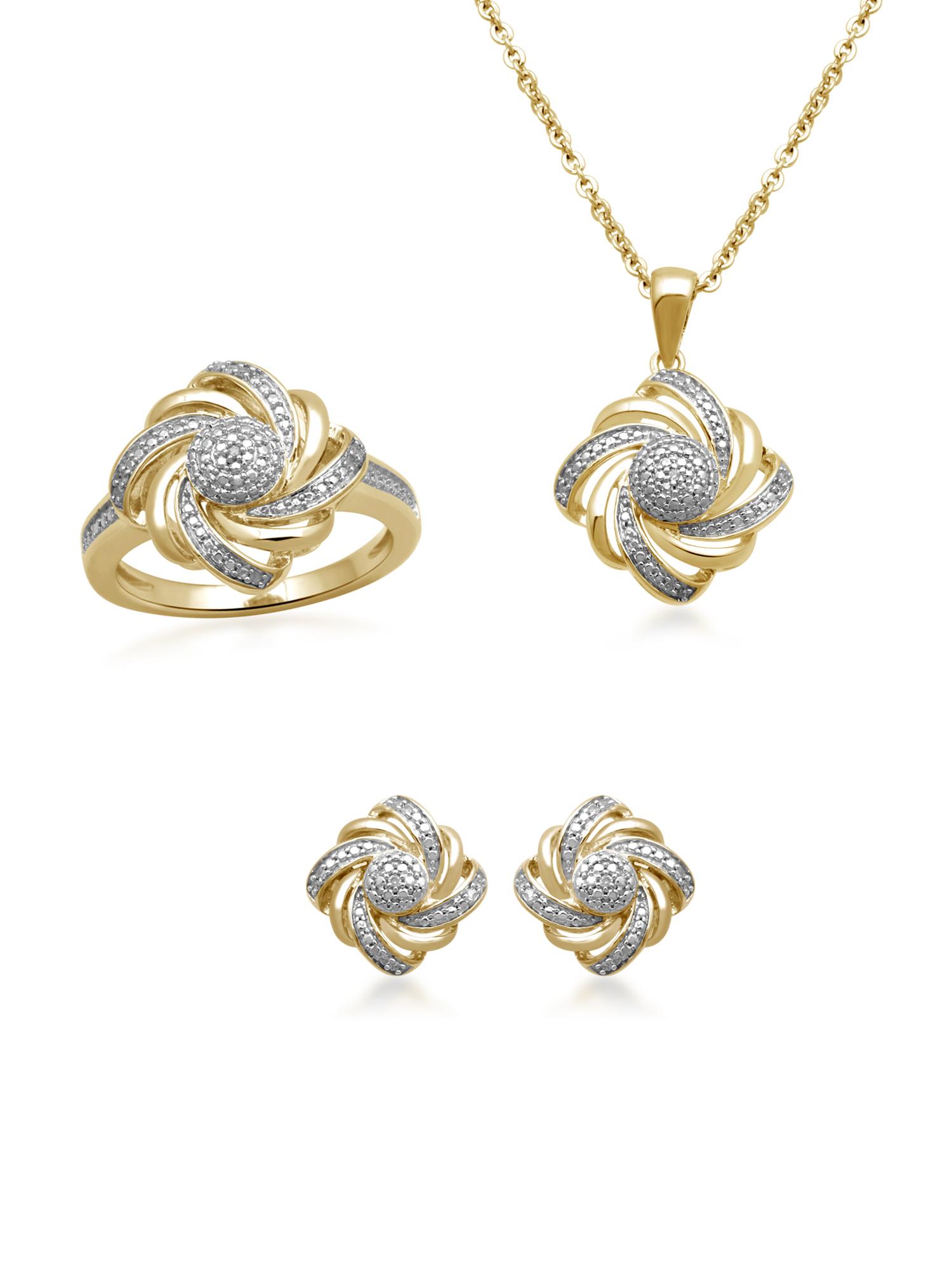 1/10 Carat T.W. Diamond 14kt Gold over Brass Boxed 3-Piece Wave Jewelry Set